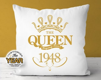 The Queen Reigning Since 1948 70th Birthday Gifts For Women Gift Pillow Party Mug