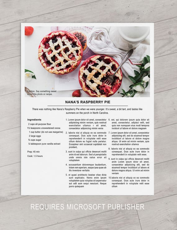 Collection of free cookbook templates: great layouts for recipe.