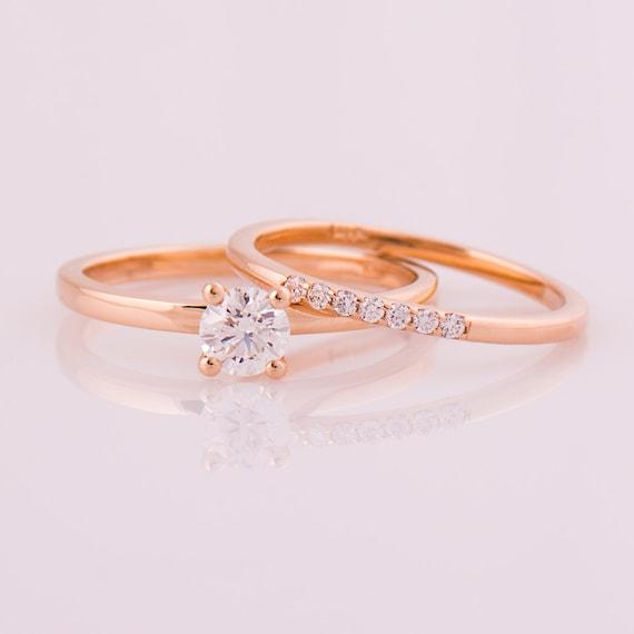Rose Gold Diamond Set 14k Rose Gold Wedding Rings Diamonds