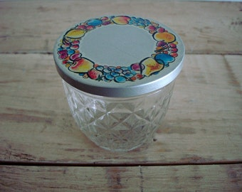Vintage BALL Quilted JELLY Jam JAR with Metal Fruit Cap-Crystal Glass Storage & Decor