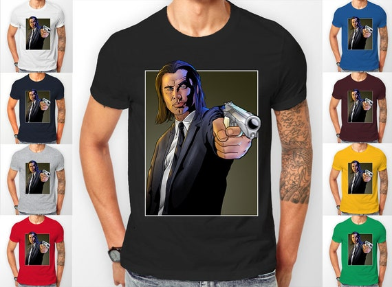 Pulp Fiction Vincent Vega gun scene (John Travolta) Tee shirt T-Shirt