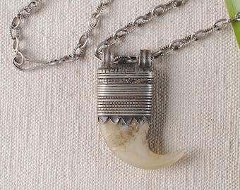 Lion claw pendant , tribal jewelry , Ethnic beads , African jewelry , Ethiopian beads , lion claw necklace