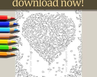 Heart colour page,Instance download,Ink,Colour pages,Decor home,Art therapy,Gift friends,Hand made,Digital,Digital graphic,Colouring pages