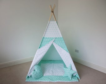 Mint and white stars kids teepee tent FREE BUNTING / girls wigwam / boys teepee play tent / tipi for children