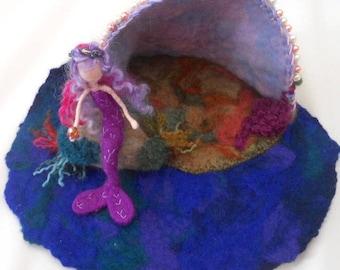 felted mermaid, Waldorf, mermaid rock pool, mermaid cave, sea shell cave,mermaid play mat, play school, nursery school, nature table,