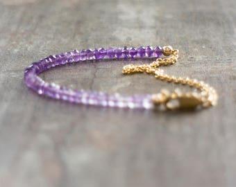 Amethyst Bracelet, Gift for Wife, Gemstone Bracelet, Ombre, Jewelry, Purple Bracelet, February Birthstone, Amethyst Jewelry, Gift for Her
