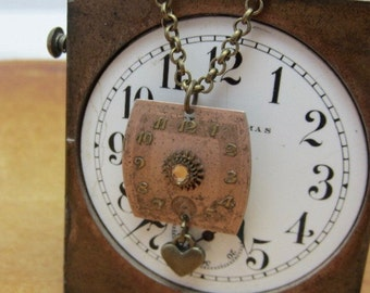 Steampunk jewelry necklace - Precious time - Watch Face - Pendant- Necklace - Upcycled wearable art