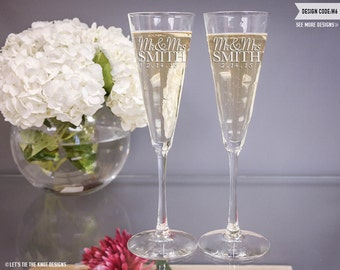 Personalized Trumpet Champagne Flutes - (Set of TWO) Custom Engraved Toasting Glasses - Personalized Wedding Gift - Couples Engagement Gift