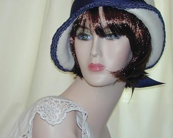 Custom Convertible handmade asymmetrical 5 in 1 cloche bowler - Downton Abbey hat, Miss Fisher, Great Gatsby hat
