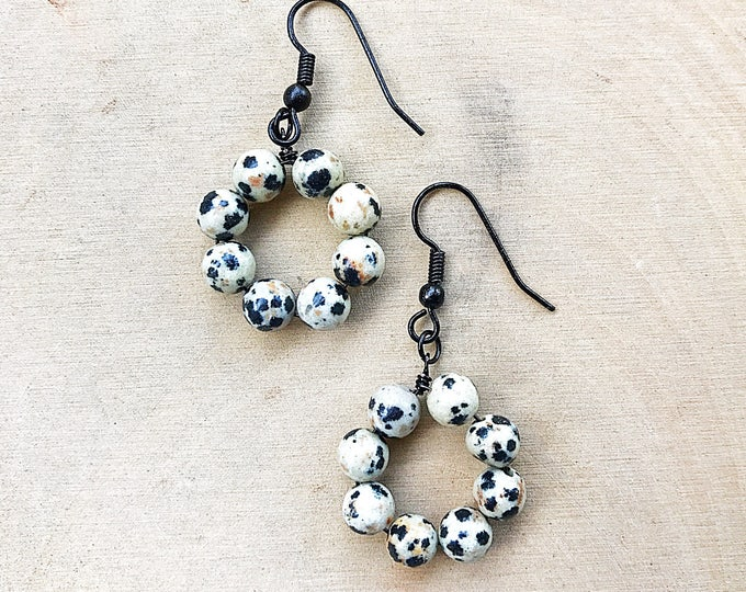 Dalmatian Stone Earrings, Healing Crystal, Gemstone, Black White Beads, Bohemian Jewelry, Gifts For Her, Bridesmaid Gift, Handmade, Jasper