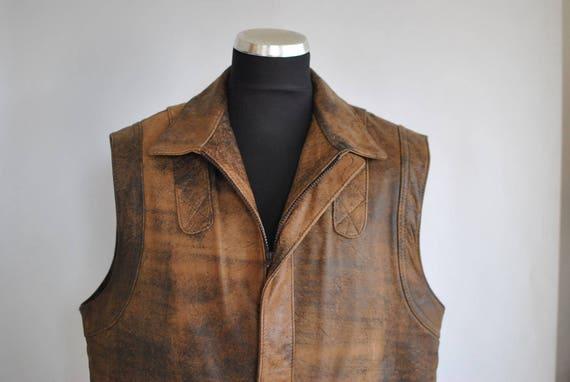 MEN'S LEATHER color VEST distressed 082 leather vest Vintage 7HFqF