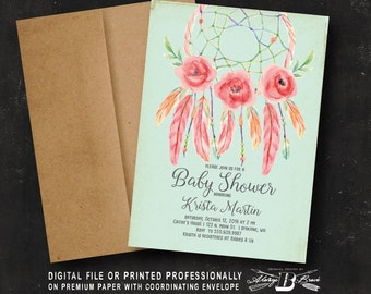 Dream Catcher Baby Shower Invitation | Printed OR Printable Digital File  | Dreamcatcher Bohemian Watercolor Boho Baby Shower Invitation
