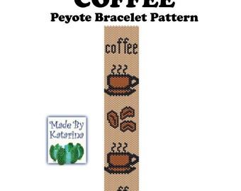 Peyote Pattern - Coffee - INSTANT DOWNLOAD PDF - Peyote Stitch Bracelet Pattern - Peyote Coffee - One Drop Even Peyote - Coffee Pattern