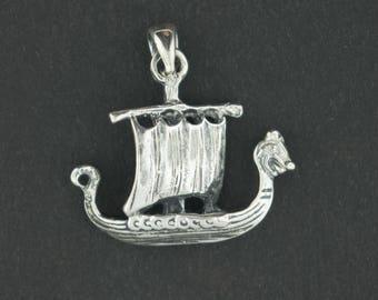 Viking Long Ship Pendant in Sterling Silver