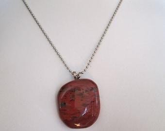 "Artisan polished red Jasper pendant necklace measures 1 1/4"" x 1 1/2"""