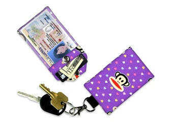 Sock Monkey on Purple with Hearts Mini Wallet Card Holder Keychain Clear ID Holder Small Wallet Student ID Badge Credit Card Child Wallet