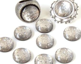 Cabochon resin - Glitter - circular (12mm) - grey - CABSYRD12GRI963