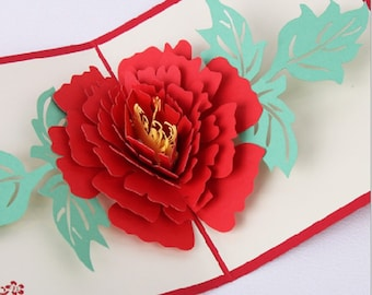Handmade origami papercraft paperart 3D pop up popup peony flower wedding invitation birthday greeting Valentines card mother's day card her