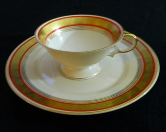 Vintage Julius Edelstein AG White with Red and Chased Gold Floral Border Tea Cup and Dessert Plate