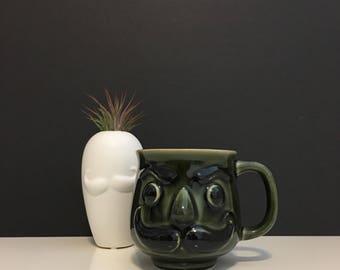 Vintage Ceramic Mustache Face Shaving Mug