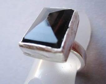 Handforged Silverring With Large Black Onyx Stone. Large Rectangular Stone in One-Of A Kind Statement Ring.  Bague Pierre. Made in Sweden