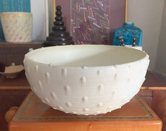 """RESERVED for JYS: Matte White Porcelain Bowl / Hand-dotted / Ostrich-Egg off-white Matte Finish / """"ANGELFACE"""""""
