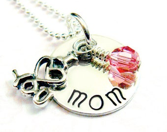Mothers Necklace with I Love You Charm and Swarovski Crystal // gifts for mom // gifts for her // personalized gifts // sterling silver