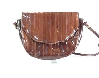 EEL SKIN PURSE. 1980s Eel Bag. 80s brown crossbody bag.