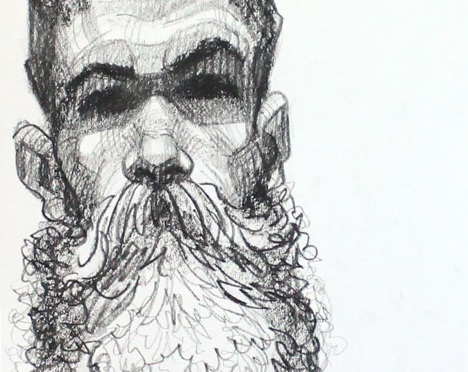 Bearded Hipster, crayon on paper 9x12 inches by Kenney Mencher
