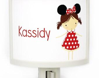 Personalized cute Brunette Girl mouse ears night light childrens nightlights nursery nightlight disney gift for baby shower gifts under 25
