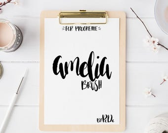 Amelia Brush, Custom Brush for Hand Lettering, Calligraphy, iPad Pro, Procreate Brush, Instant Download,