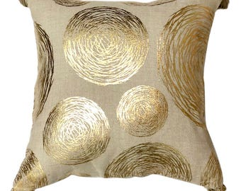 "Designer Linen Foil Printed Throw Pillow Cover, 18""x 18"" Natural Linen Print Pillowcase with Beaded Tassels - Foil Concentric"