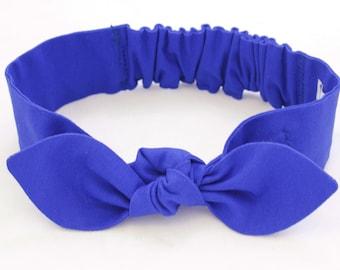 Cobalt Knot headband, Womens Headband, Adult Headband, Headband for Women, Girl Headband, Bow Headband, Girl, Women, Headband, Blue Headband