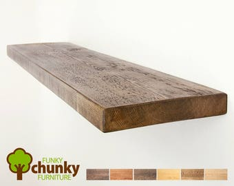 Rustic Floating Shelves | Wall Fitting Solid Wood Shelf | 22.5cm deep x 4cm thick | Funky Chunky Furniture Shelving | 9x1.5