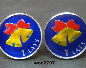 Latvia coin cufflinks 1 Lats Christmas  22mm