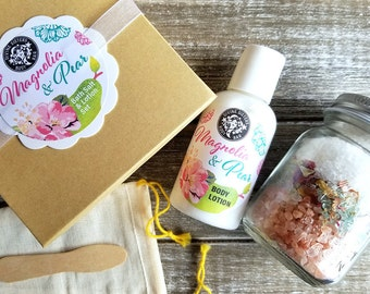 Gift Set / Magnolia and Pear Bath Salt and Lotion Gift Set / Body Lotion Gift Set / Bath Salts Gift Set / Skincare Gift Set