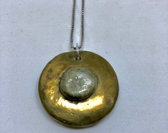 Concrete and Pewter Necklace Pendant