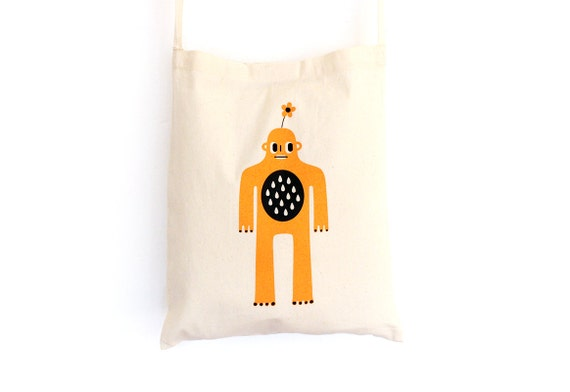 Tote bag with shoulder strap - Sweet Yeti - screen-printed shopping bag - organic cotton - Bigfoot - Big Foot - Sasquatch - illustrated bag