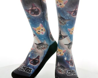 Cats in Space Socks - Hand Printed in USA - Funky Socks | Novelty Socks | Funny Cute Socks | Crazy Fun Socks | Are you kitten me right meow?