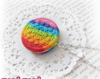 Rainbow Cookie Necklace, Polymer Clay Cookie, Miniature Food Jewelry, Food Necklace, Sweets Necklace, Cookie Jewelry, Kawaii Necklace