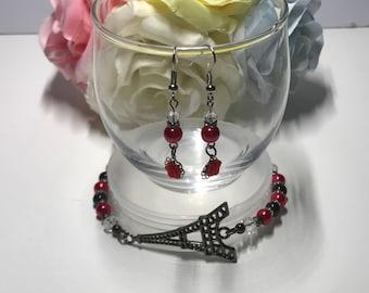 Eiffel Tower bracelet with earrings