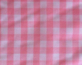 Cotton pink gingham, Plaid, by 10 cm