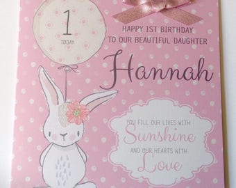 Cute Personalised 1st Birthday Card Daughter, Granddaughter, Niece, Goddaughter, Sister, 2nd 3rd 4th 5th 6th 7th 8th 9th