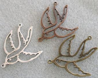 Antique Silver Copper Bronze Swallow Bird Pendant Connectors 31mm 539