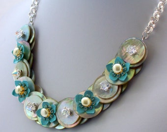 Mother of Pearl Button Necklace, Floral Necklace, Blue, Button Necklace Chain, Vintage, Swarovski Crystal Jewelry, Nickel Free Jewelry