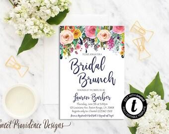 Bridal Brunch Invitation / Printable Bridal Shower Invite/ Floral Bridal Brunch /Watercolor Editable Shower Invitation/ Instant Download