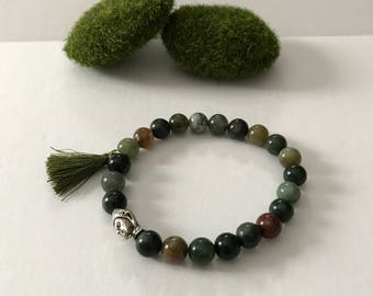 8mm Natural Agate Mala Bracelet with Buddha head bead and tassel