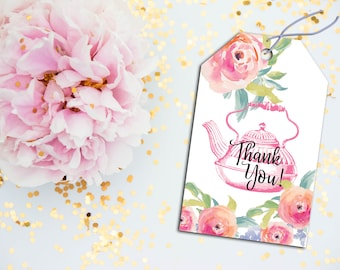 Tea Party Thank You Tags, Thank You Tags, Floral Thank You Tags, Tea Party Favors, Party Favors, Tea Party Favor Tags, Tea Party Decor