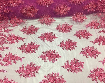 Hollywood Beaded Floral Sequins On Mesh Fabric By The Yard Used For -Dress-Bridal-Nightgown-Prom [Fuchsia] Free Shipping!!!