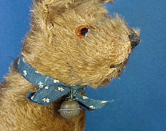Antique Mohair Dog, Stuffed Animal, Terrier, Glass Eyes, Antique Toy